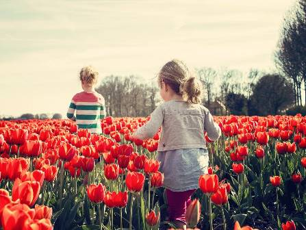 Girls running through tulips in Holland