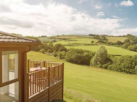 Lodge overlooking countryside at Devon Hills Holiday Park